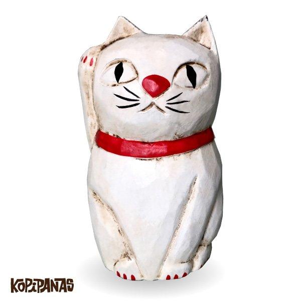 画像1: 招き猫 白